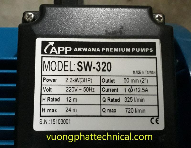 Bơm ly tâm trục ngang Inox APP SW-320T