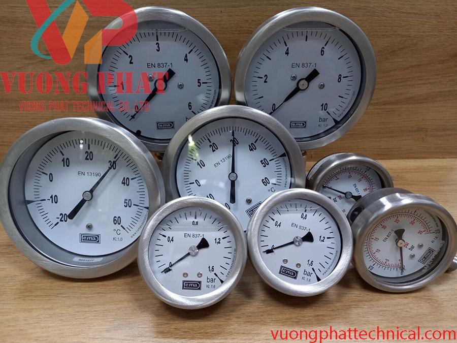 Đồng hồ đo áp suất TEMA mặt có dầu